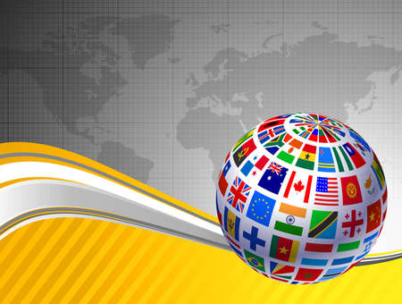 the americas: Flags Globe with World Map Original Vector Illustration