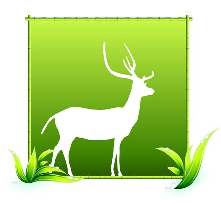 Deer in Bamboo Frame Original Vector Illustration