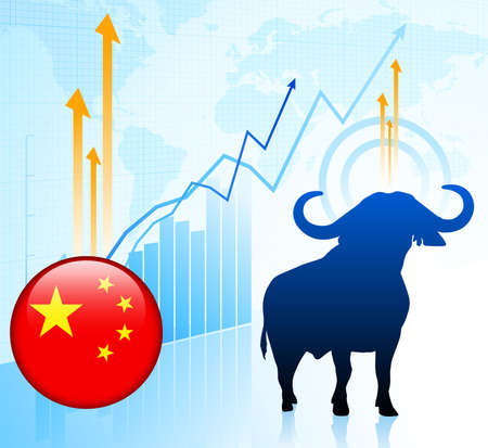 Bull Market with Chinese Internet Button Original Vector Illustration illustration