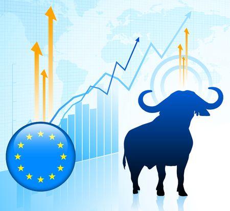 Bull Market with European Union Button Original Vector Illustration illustration