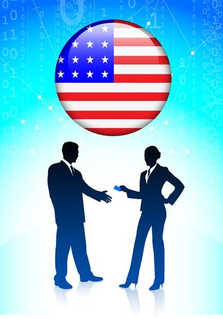 Businessman and Businesswoman greeting with American Button Original Vector Illustration illustration
