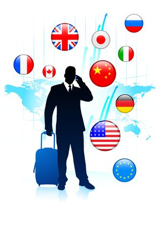 Businessman Traveler with Sworld map and Internet Flag Buttons Original Vector Illustration illustration