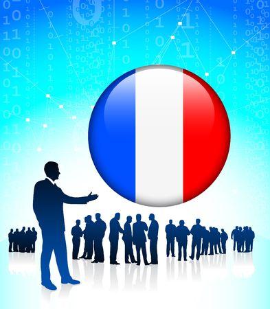 Businessman Leader with French Internet Button Original Vector Illustration illustration