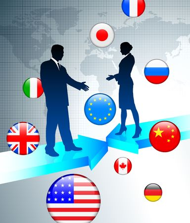 Business Couple on world map background with internet flag buttons