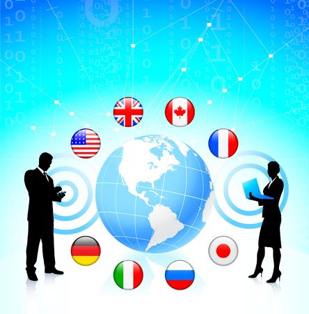 italian politics: Business couple with globe and internet flag buttons Original Vector Illustration