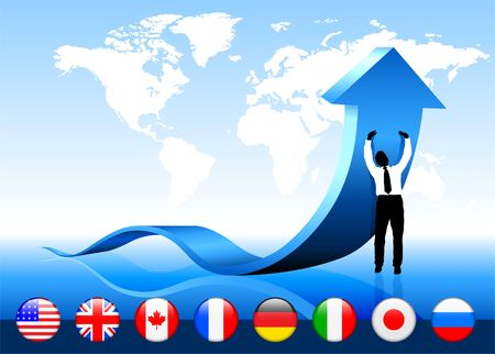 Businessman with world map and flag buttons Original Vector Illustration illustration