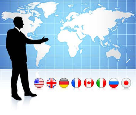 prime: Businessman presenting world map with internet flag buttons Original Vector Illustration