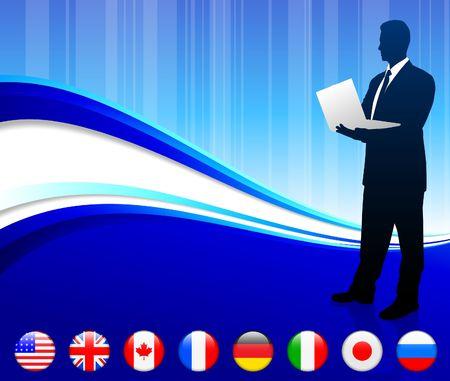 Businessman with internet flag buttons background Original Vector Illustration illustration