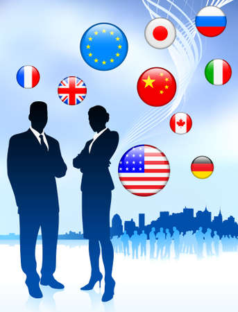Business Couple on  internet flag buttons background Original Vector Illustration illustration