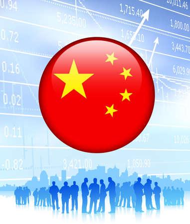 Business Team with China Flag Internet Button Original Vector Illustration illustration
