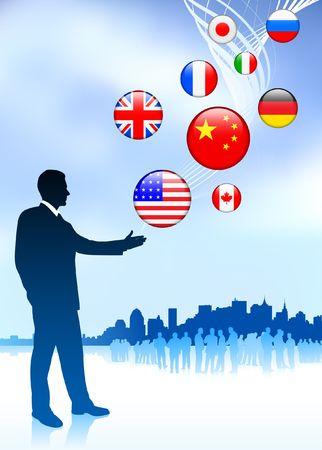 Businessman Leader with Skyline and internet Flag Buttons Original Vector Illustration illustration