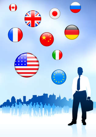 Businessman Traveler with Skyline and Internet Flag Buttons