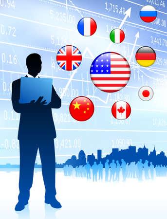 Businessman Leader with Skyline and internet Flag ButtonsOriginal Vector Illustration Stock Illustration - 6441439