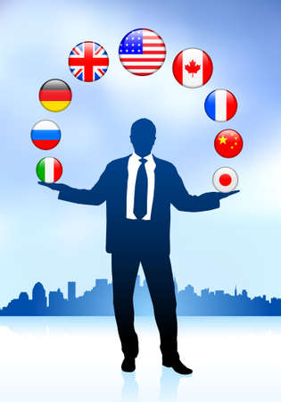 Businessman Leader with Skyline and internet Flag Buttons