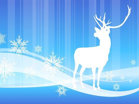 Deer on abstract winter background Original Vector Illustration illustration