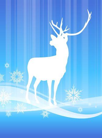Cervi su sfondo astratta invernoIllustrazione vettoriale originale Archivio Fotografico - 6441815