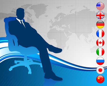 italian politics: Businessman with world map and flag buttons Original Vector Illustration