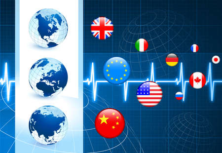 Globes with Flags internet Buttons Original Vector Illustration illustration