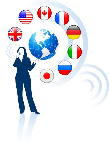 Businesswoman with Globe and internet Flag Buttons Original Vector Illustration