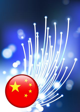 fiber optic: Chinese Internet Button with Fiber Optic Background Original Vector Illustration