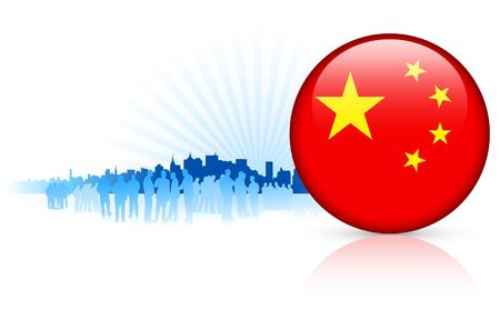 China Internet Button with Skyline Background Original Vector Illustration illustration