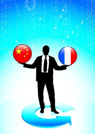 Businessman Holding china and  France Internet Flag Buttons Original Vector Illustration illustration