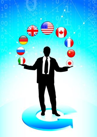 Businessman with internet flag buttons Original Vector Illustration illustration