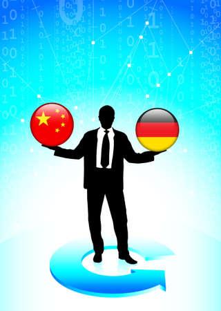 Businessman Holding china and germany Internet Flag Buttons Original Vector Illustration illustration
