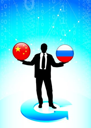 Businessman Holding china and russia Internet Flag Buttons Original Vector Illustration