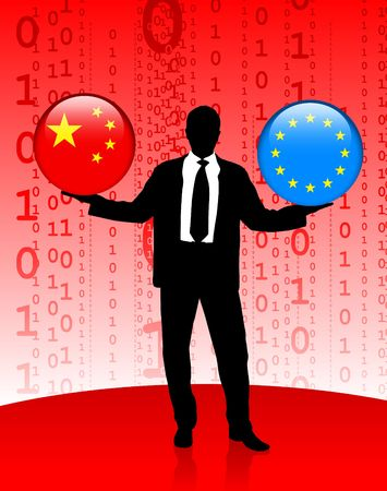 Businessman Holding China and European Union Internet Flag Buttons Original Vector Illustration illustration
