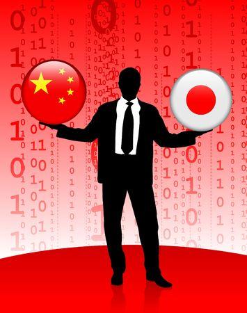 Zaken man die China en Japan Internet vlag knoppen Originele vector illustratie