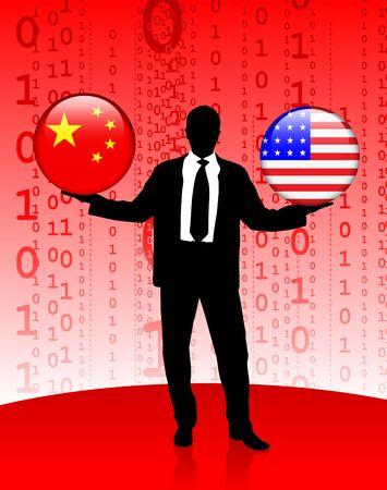 Businessman Holding China and United States Internet Flag Buttons Original Vector Illustration illustration