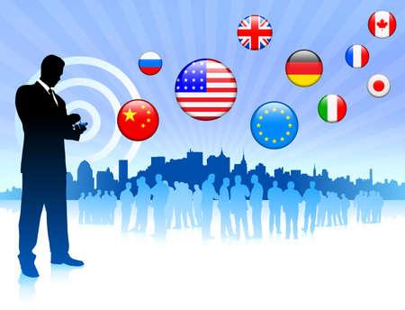 Businessman communication with internet flag buttons Original Vector Illustration illustration