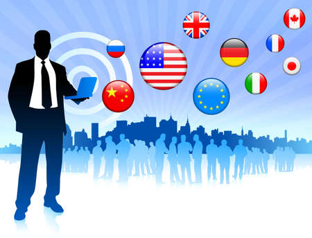 Businessman communication with internet flag buttons Original Vector Illustration illustration