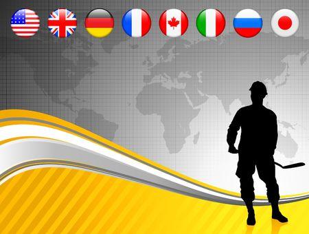World Map with Internet Flag Buttons Background Original Vector Illustration illustration