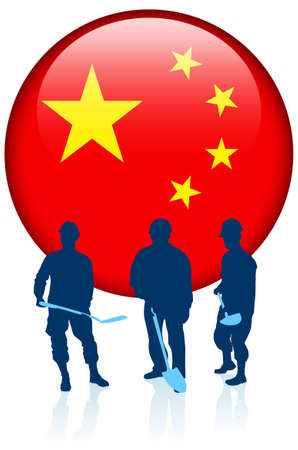 Construction workers with China Internet Button Original Vector Illustration illustration