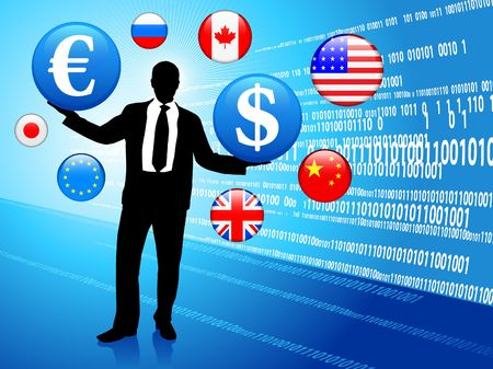 Businessman on Economic background with internet flag buttons