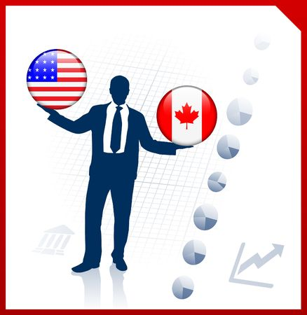 Businessman Holding United States and canada Internet Flag Buttons Original Vector Illustration illustration