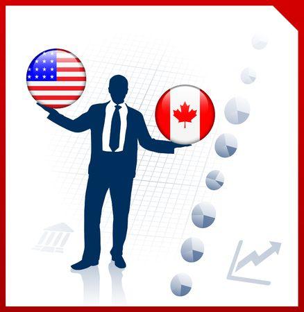 Businessman Holding United States and canada Internet Flag Buttons Original Vector Illustration illustration