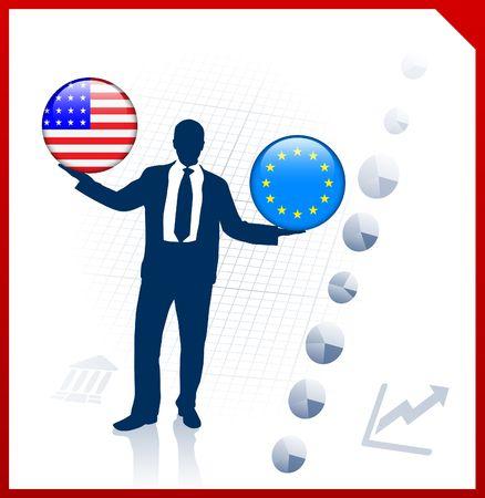 Businessman Holding United States and european union Internet Flag Buttons Original Vector Illustration illustration