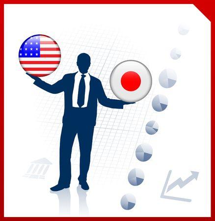 Businessman Holding United States and Japan Internet Flag Buttons Original Vector Illustration illustration