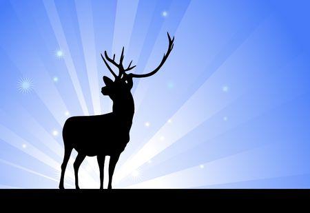 Deer on Glowing Background Original Vector Illustration illustration
