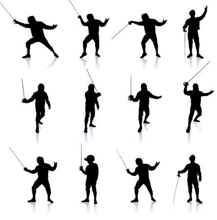Fencing Silhouette Collection Original Vector Illustration illustration