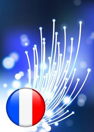 France Internet Button with Fiber Optic Background Original Vector Illustration