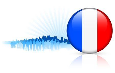 France Internet Button with Skyline Background Original Vector Illustration illustration
