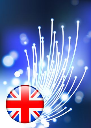 British Internet Button on Fiber Optic Background Original Vector Illustration