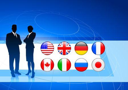 Business Couple on  internet flag buttons background Original Vector Illustration illustration