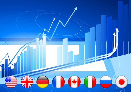 Business Background with Internet Flag Buttons Original Vector Illustration illustration
