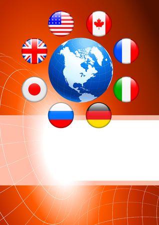Globe with Internet Flag Buttons Background Original Vector Illustration illustration