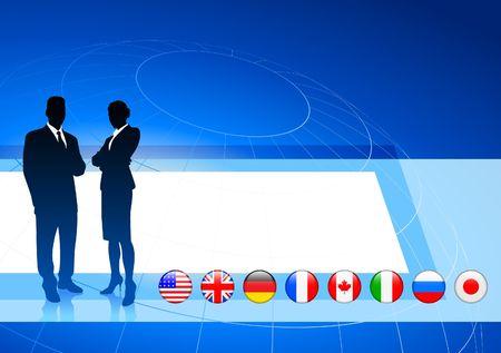 Business Couple on  internet flag buttons background Original Vector Illustration
